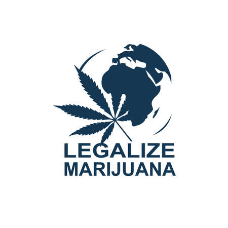 silhouette of marijuana or cannabis leaf isolated on earth
