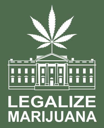 illustration of marijuana or cannabis leaf on white house 일러스트