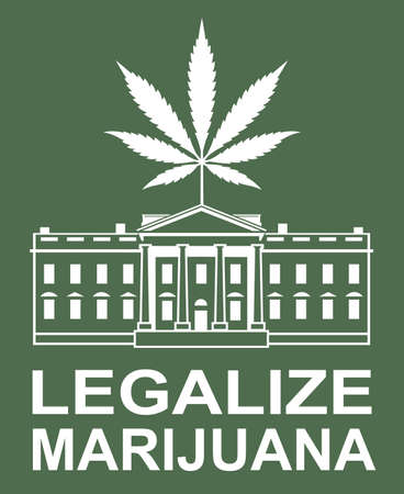 illustration of marijuana or cannabis leaf on white house Illustration