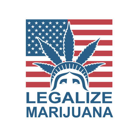 cannabis leaf illustration on statue of liberty isolated