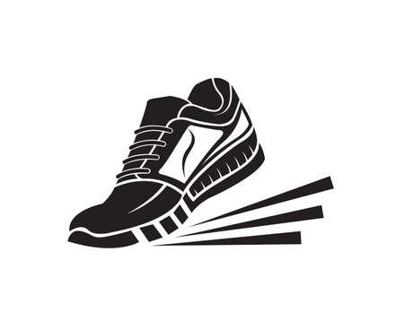 speeding running sport sneakers shoe icon Illustration