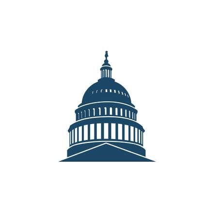 Icono del edificio del Capitolio de los Estados Unidos en Washington DC Ilustración de vector