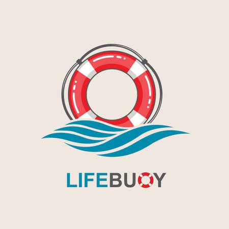 élément de conception de bouée de sauvetage rouge avec des vagues de la mer Vecteurs