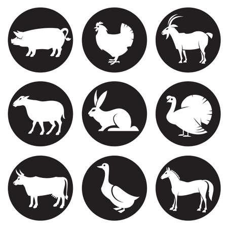 collection monochrome d'icônes de silhouettes d'animaux de ferme