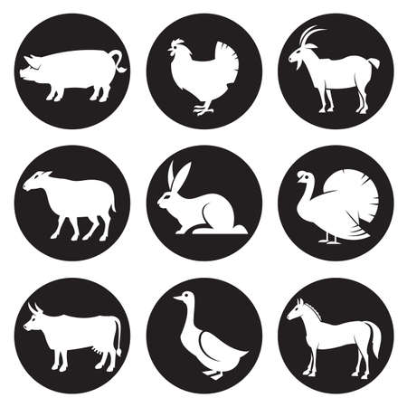 monochrome collection of farm animals silhouettes icons