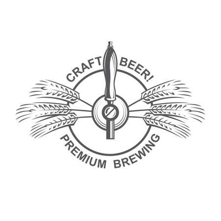 black emblem of beer tap and hops for brewing Ilustração