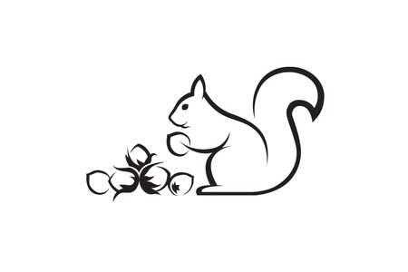 schwarze Ikone des Eichhörnchens mit Nüssen auf weißem Hintergrund Vektorgrafik