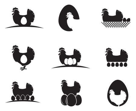 collection de poulet et oeufs isolé sur fond blanc