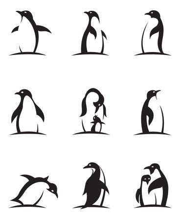 collection d & # 39; icônes de pingouin noir isolé sur fond blanc