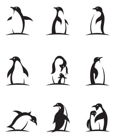collection of black penguin icons isolated on white background Çizim
