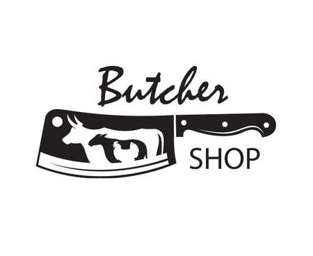 Emblema de carnicería monocromo de cuchillo kithen, oveja, vaca y pollo Ilustración de vector