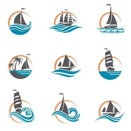 collezione di icone di barche a vela e yacht sulle onde