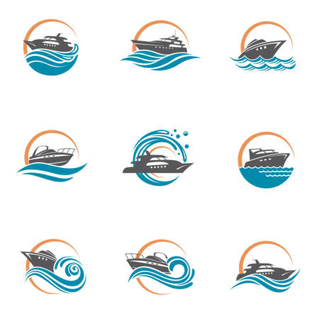 collection of speedboat and yacht icons on waves Vettoriali