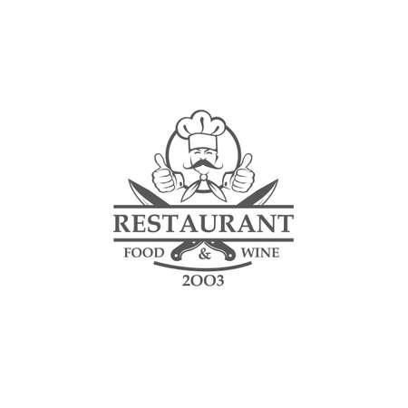 zwart restaurantetiket met gekruiste messen en chef-kok die op witte achtergrond wordt geïsoleerd Vector Illustratie
