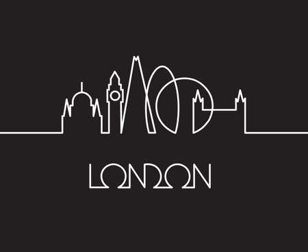 abstract illustration of London city on black background