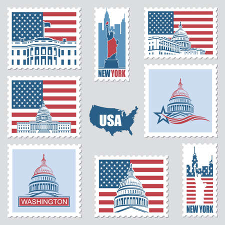 postage stamps set with american symbols statue of liberty, capitol building and white house Foto de archivo - 107486980