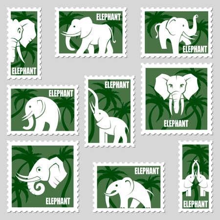 collezione di francobolli con elefanti e palme