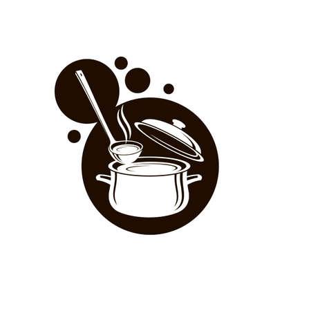 verzameling van set pan, soep en pollepel geïsoleerd op een witte achtergrond