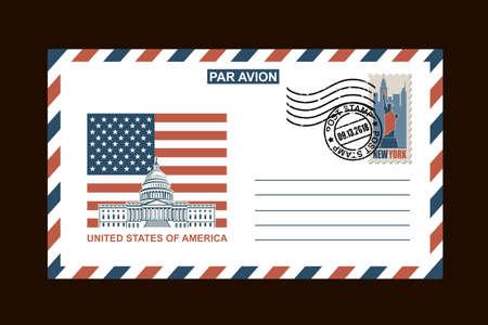 conception d & # 39; enveloppe postale avec des symboles américains sur fond noir