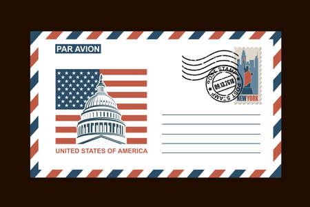 busta postale design con simboli americani su sfondo nero Vettoriali
