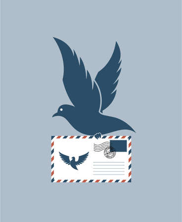 illustration of flying dove silhouette with postal envelope