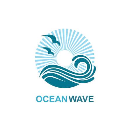 icono del océano con olas y gaviotas