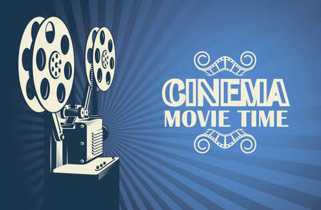 plakat kinowy z retro projektorem filmowym