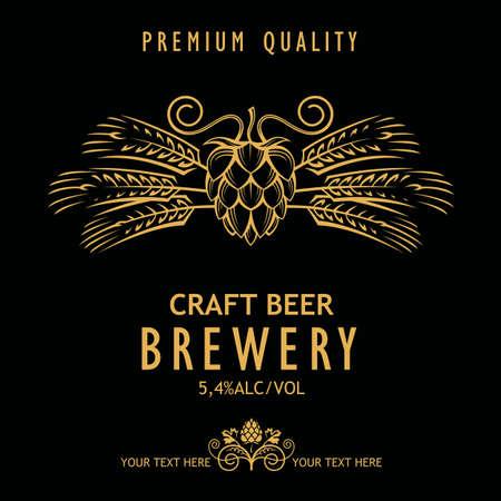 illustration of label for craft beer