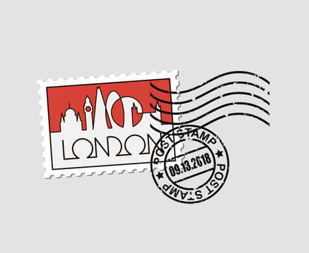 postage stamp with london Illustration