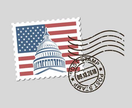 postage stamp with american symbols Çizim
