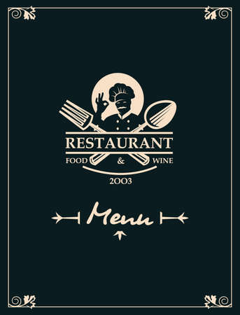 restaurant menu with kitchenware and chef Ilustração Vetorial