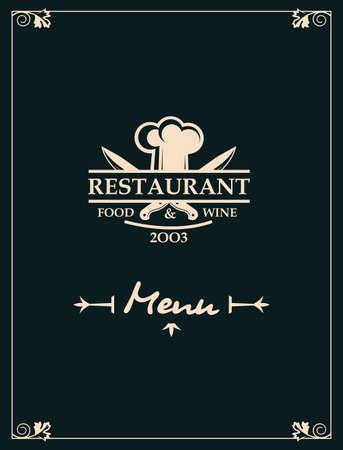 Menú de restaurante con menaje de cocina y chef. Ilustración de vector