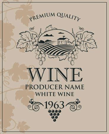 wine bottle label 일러스트