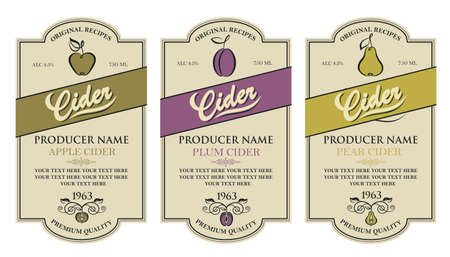 cider labels set
