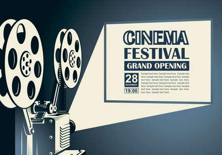 film projector poster Vector Illustration