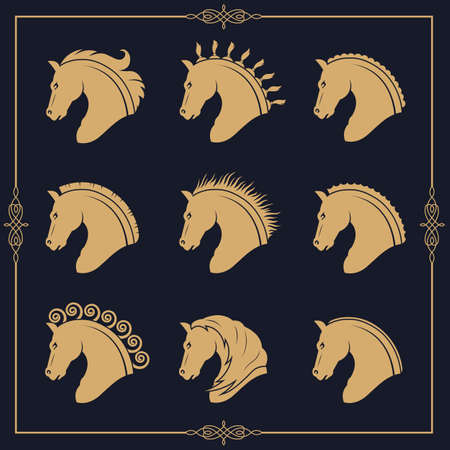 set of horse heads