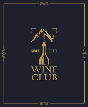 wine club emblem with bottle and corkscrew