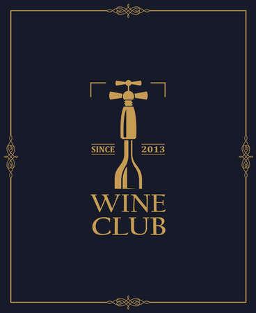 wine club emblem with bottle and corkscrew Ilustração Vetorial