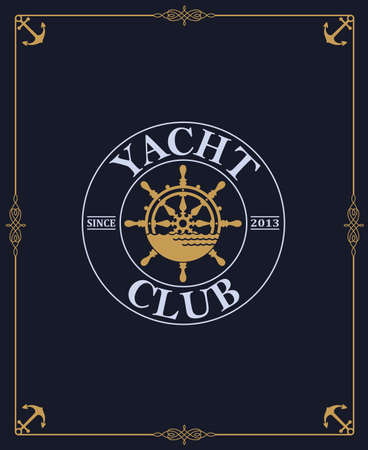 yacht club label isolated on dark background
