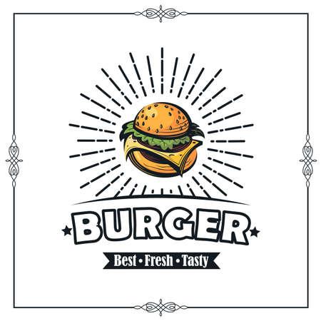 obraz retro fast food z burgerem