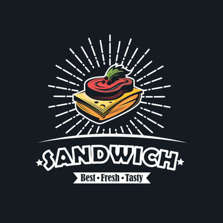 fast food emblem with sandwich
