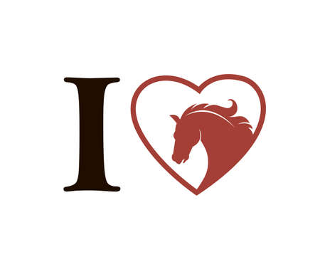 emblem of horse head in heart