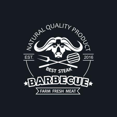 barbecue grill emblem for restaurant menu