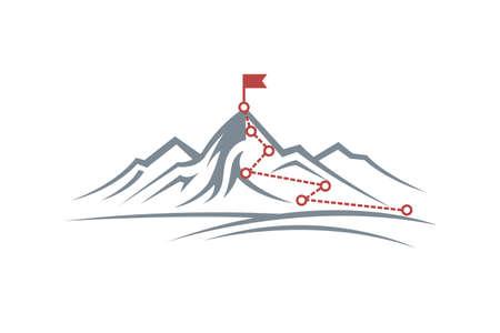 bergbeklimroute naar de top