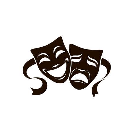 conjunto de máscaras teatrales Ilustración de vector
