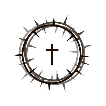 crown of thorns and cross icon isolated on white background Standard-Bild - 120534599
