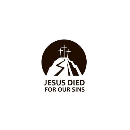black icon of jesus golgotha hill with crosses Illusztráció
