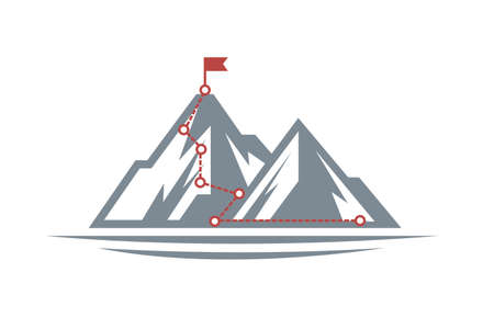 illustration of mountain climbing route to peak