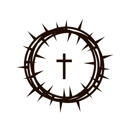 crown of thorns and cross icon Standard-Bild - 120534774