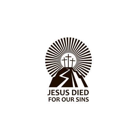 black icon of jesus golgotha hill with crosses Ilustração